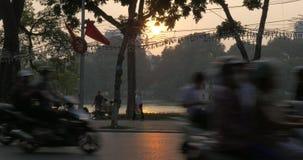 Traffic on motorway at sunset. Hanoi, Vietnam stock video footage