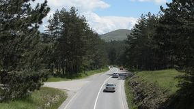 Traffic on a Mountain Road stock video footage