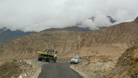 Traffic on the mountain road in Ladakh Royalty Free Stock Photo