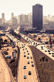 Traffic moves along a busy highway in Montreal. Royalty Free Stock Photography
