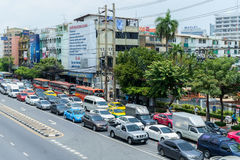 Traffic moves slowly along a busy road Stock Photography