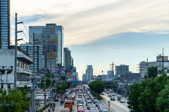 Traffic moves slowly along a busy road Stock Image