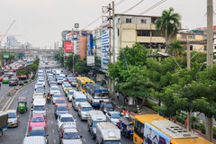 Traffic moves slowly along a busy road Royalty Free Stock Photography