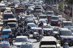 Traffic moves slowly along a busy road in Kathmandu, Nepal Royalty Free Stock Photos