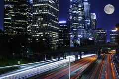 Traffic moving on freeway Stock Photography