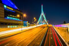 Traffic moving over the Leonard P. Zakim Bunker Hill Memorial Br Stock Photo