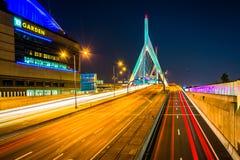 Traffic moving over the Leonard P. Zakim Bunker Hill Memorial Br. Idge at night, in Boston, Massachusetts stock photo