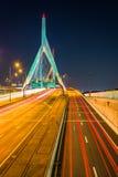 Traffic moving over the Leonard P. Zakim Bunker Hill Memorial Br. Idge at night, in Boston, Massachusetts royalty free stock photography