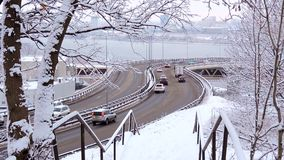 Traffic moving slowly on ice and snow covered highway stock video footage