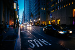 Traffic moving on a street in the Financial District, Manhattan, Royalty Free Stock Photography