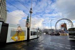 Traffic near Alexanderplatz, Berlin Stock Photography