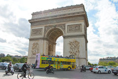 Traffic near the Arc de Triomphe in Paris. Royalty Free Stock Photography