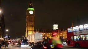 Traffic near Big Ben Tower at night, UK stock video footage