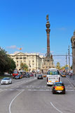 Traffic near Columbus monument in Barcelona, Spain Stock Photo