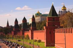 Traffic near Kremlin wall, Royalty Free Stock Image