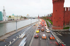 Traffic near Moscow Kremlin Royalty Free Stock Photos