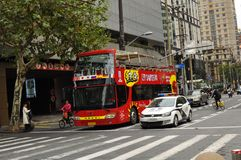 Panorama of the famous Nanjing Road in Shanghai China. The traffic near  Nanjing Road in Shanghai China. Nanjing road is the main shopping street of Shanghai Royalty Free Stock Images