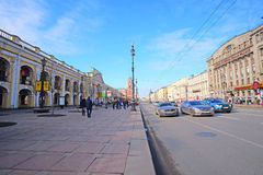 Traffic on Nevskiy prospect in the center of St. Petersburg, Russia. Stock Photography