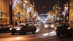 Traffic on Nevsky street at night, St. Petersburg stock video