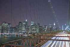 Traffic in New York City. Brooklyn Bridge Royalty Free Stock Photo