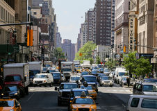 Traffic in New York. New York City, USA - May 19, 2014: Many cars driving through the jammed streets of new york Stock Photography