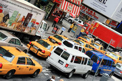 Traffic in New York. A shot of famous taxis in the traffic of New York Royalty Free Stock Image