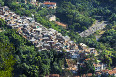 Traffic Next to Favela (Shanty Town) in Rio de Janeiro, Brazil Stock Image