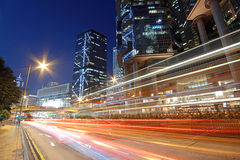 Traffic night. In hong kong stock photography