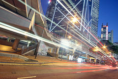 Traffic night. And modern building royalty free stock images