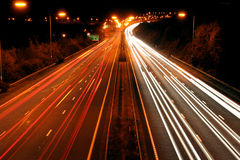 Traffic at night. Long exposure of night time rush hour Stock Photo