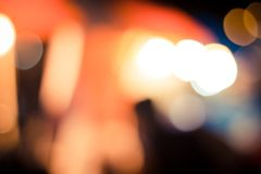 Traffic in night with bokeh blur abstract background, vintage re Royalty Free Stock Photo