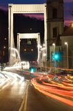 Traffic at night in Budapest, Hungary on Royalty Free Stock Photography