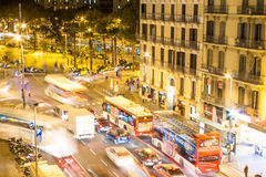 Traffic Night City Barcelona. Traffic on a city street at night with lights in Barcelona, Spain Royalty Free Stock Image