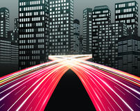 Traffic  of night city. Illustration Royalty Free Stock Image