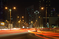 Traffic at night in Doha. Downtown, Qatar Stock Photography