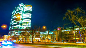 Traffic at night in Duesseldorf Royalty Free Stock Image