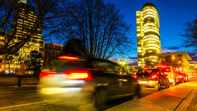 Traffic at night in Duesseldorf Royalty Free Stock Images