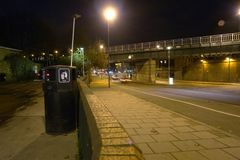 Traffic at night in England. Long exposure in England Royalty Free Stock Photo