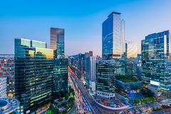 Traffic at night in Gangnam City Seoul, South Korea. stock image