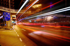 Traffic at night in Hong Kong Royalty Free Stock Photography