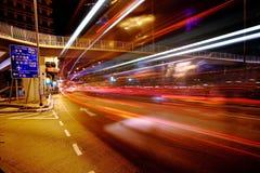 Traffic at night in Hong Kong Royalty Free Stock Photography
