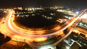 The traffic at night on hua hin road Royalty Free Stock Images