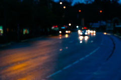 Traffic Night lights of the city Royalty Free Stock Photos