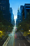 Traffic at night on 42nd Street, New York City. Traffic at night on 42nd Street, Tudor City Overpass, New York City stock photos