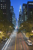 Traffic at night on 42nd Street, New York City. Traffic at night on 42nd Street, Tudor City Overpass, New York City stock photography