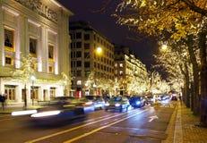 PARIS - DECEMBER 22, 2017: Night traffic in Paris. Traffic at night in Paris, City of Lights. France, Europe Royalty Free Stock Image
