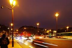 PARIS - DECEMBER 22, 2017: Night traffic in Paris. Traffic at night in Paris, City of Lights. France, Europe Stock Photos