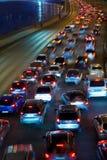 Traffic on night road stock image