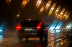 Traffic on night road Royalty Free Stock Photo