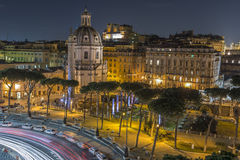 Traffic at night in Rome, Italy Stock Photos